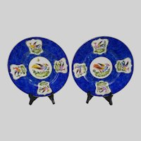 Antique Chelsea Style Porcelain Cabinet Plates Pair