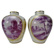 19c German Frankenthal or Ludwigsberg Porcelain Vase Pair