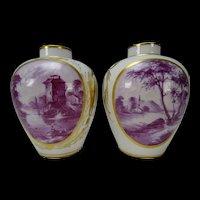 Antique German Frankenthal/Ludwigsburg Porcelain Vase Pair