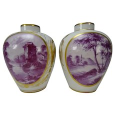 Antique German Frankenthal/Ludwigsburg Porcelain Vase Pair