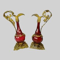Antique Bohemian or Austrian Ormolu Cranberry Glass Ewers Decanters