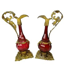 Antique Bohemian or French Ormolu Cranberry Glass Ewers Decanters