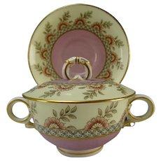 Antique Royal Worcester China Porcelain Cream Soup Bowl/Lid Liner