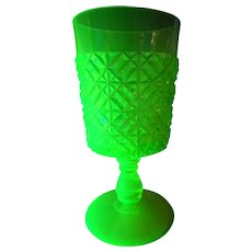 Antique Belmont Block and Dice Vaseline Pattern Goblet EAPG