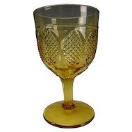 Antique Non Flint Pennsylvania Amber Wine Glass EAPG Oval Panels
