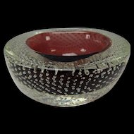 Vintage 50s Space Age Murano Bubble Cased Glass Bowl