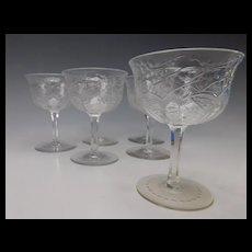 Webb Engraved Cut Crystal Signed Glass Wine Stems Set of 6