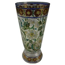 Fine Bohemian Enameled Glass Footed Tumbler Beaker c1900