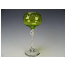 Antique French St Louis Embossed Faceted Stem Wine Glass Stem