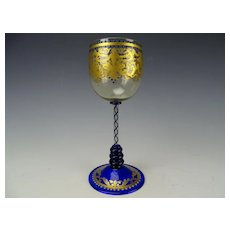 Antique Moser Salviati Parcel Gilt Wine Glass Stem c1900
