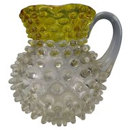 Antique Victorian Hobbs Brockunier Amber Frances Ware Hobnail Glass Pitcher