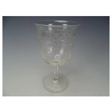 Antique American Engraved Cut Wine Glass Stem