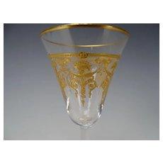 Antique Elegant Gilt Embossed Cornucopia Wine Glass Stem