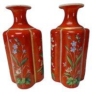 Antique Bohemian Moser Harrach Enamel Glass Perfume Cologne Bottle Pair