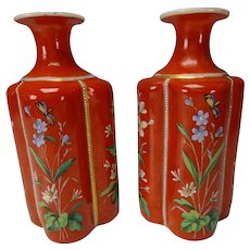 Antique Bohemian Moser Harrach Enamel Glass Perfume Cologne Bottle Pair