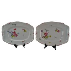 c1750 Antique Strasbourg French Faience Platter Tray Pair