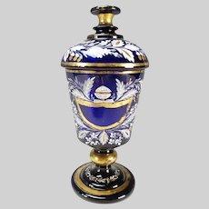 Antique Bohemian Haida Enamel Decorated Lidded Pokal Vase c1825