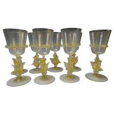 8 Antique Salviati CVM Seahorse Venetian Glass Wine Stems Set c1900