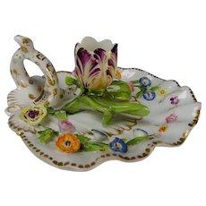 18c Coalbrookdale Floral Encrusted Porcelain Figural Chamberstick Candleholder
