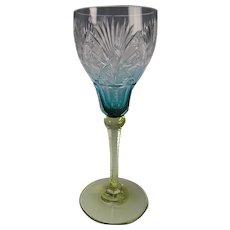 Antique Val St Lambert VSL Brilliant Period Colored Cut Wine Glass Stem
