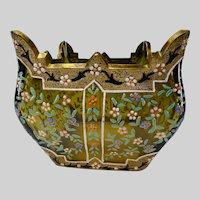 c1885 Antique Moser Hand Painted Enamel Glass Vase