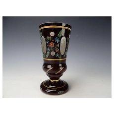 Vintage Bohemian Czech Hand Painted Enamel Overlay Art Glass Vase