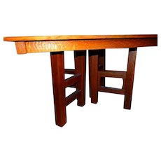 Huge Heavy Antique Hand Sawn Quartered Oak Arts Crafts Mission Table Limbert