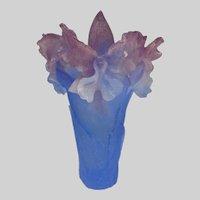 Vintage Daum Nancy France Signed Orchid Pate de Verre Vase AF