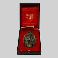 Stuart Devlin Figural Sterling Parcel Gilt Surprise Egg and Original Fitted Box