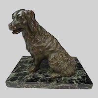 19c Antique Bronze Springer Spaniel Sculpture on Marble
