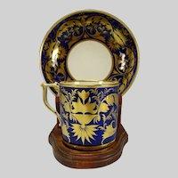 c1820 Antique Derby Porcelain Cup and Saucer Gold on Cobalt
