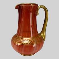 Antique Loetz Bohemian Carneol Art Glass Pitcher c1885
