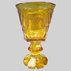 Antique c1830s Egermann Bohemian Czech Cut Glass Pokal Goblet