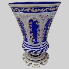 Antique Bohemian Lobmeyr Enameled Overlay Glass Beaker Vase