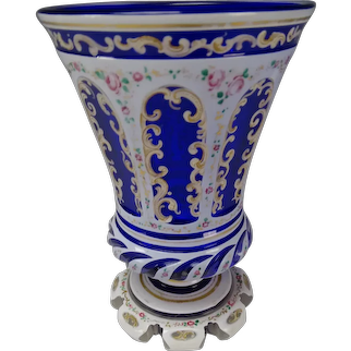 Antique Bohemian Lobmeyr Enameled Overlay Glass Beaker Vase