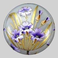 Art Nouveau French Mont Joye Enamel Art Glass Powder Jar/Box
