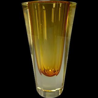 MCM Vintage 60s Mandrazzato Italian Murano Glass Vase