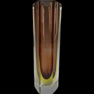 Vintage MCM Italian Murano Signed Mandrazzato Sommerso Glass Vase