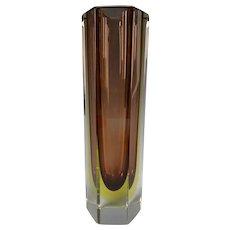 Vintage MCM Italian Murano Signed Mandruzzato Sommerso Glass Vase