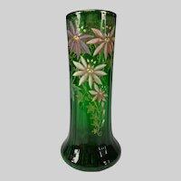 Antique French or Bohemian Enameled Floral Glass Vase