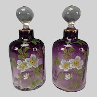 Antique Bohemian or French Hand Enameled Amethyst Glass Perfume Bottles
