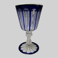 Antique St Louis French Overlay Glass Crystal Wine Goblet Stem