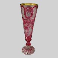 Antique Egermann or Novy Bor Biedermeier Cut & Stained Art Glass Vase c1830s