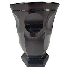 Antique Bohemian Biedermeier Goldruben Glass Beaker Vase