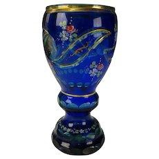 Vintage Bohemian Czech Cobalt Cut Cased Citrine Glass Vase HP also