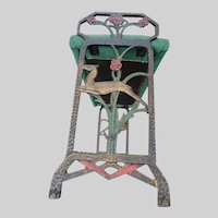 Art Deco Figural Cast Iron Hand Painted Gazelle Deer Bench