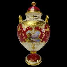Antique Coalport China Hand Painted Scenic Panels Urn Vase