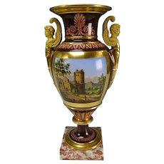 "13"" Old Paris Porcelain Hand Painted and Gilt Vase c1840"