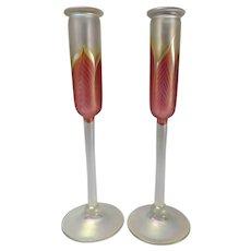 Vintage Correia Studio Iridescent Art Glass Candlesticks Pair