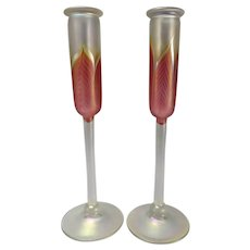 Vintage Correia Studio Iridescent Pulled Feather Art Glass Candle Vases